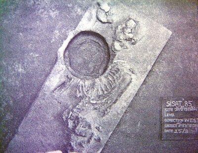 โครงกระดูกสมัยก่อนประวัติศาสตร์ขุดค้นพบใต้ฐานเจดีย์วัดช้างล้อม ศรีสัชนาลัย บ่งว่าพื้นที่นี้เคยเป็นสุสานสมัยก่อนประวัติศาสตร์และถูกใช้ต่อเนื่องเมื่อรับศาสนาพุทธจากภายนอกเข้ามา (ภาพของกรมศิลปากร) [จากบทความเรื่อง สุสานสมัยก่อนประวัติศาสตร์ กลายมาเป็นศาสนสถาน ของ ประภัสสร์ ชูวิเชียร (อาจารย์ประจำคณะโบราณคดี มหาวิทยาลัยศิลปากร) คอลัมน์ท้องถิ่นมีชุมชน ในสยามรัฐรายวัน ฉบับวันพุธที่ 13 มกราคม 2559 หน้า 10]